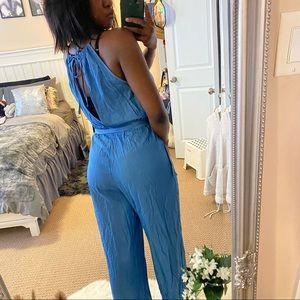 Blue La Vie en Rose jumpsuit with elastic waist